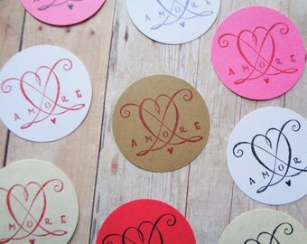 Valentine's Day Love Stickers Amore Envelope Seal Italian Wedding Cardstock Heart Labels