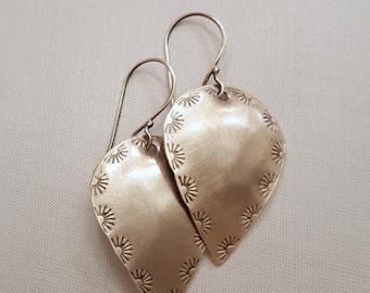 Sterling Silver Dangle Earrings Sun Stamped Earrings / Sterling Silver Earrings / Silver Jewelry