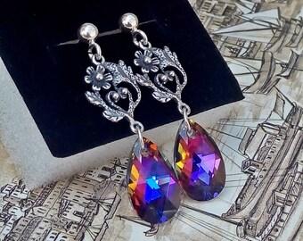 Sterling Silver SWAROVSKI Earrings, Silver Floral Earrings, Volcano Swarovski Drop Earrings, Crystal Dangle Earrings, Swarovski Jewelry
