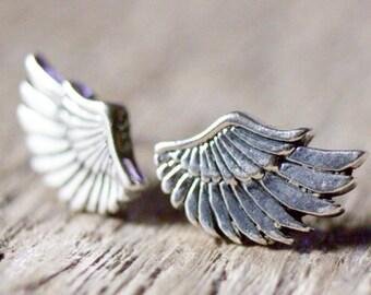 Angel Wings Earrings, Second Hole Studs Earrings, Wings Stud Earrings, Tiny Silver Wings Jewelry, Remembrance Gift, Memorial Jewelry