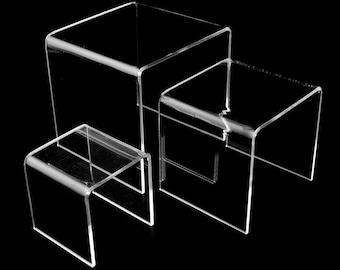 "Set of 3Assorted Size Square Acrylic Clear Riser Shoe Display Stand 3""4""5"" Sizes Book Stand Jewelry Showcase Fancy Mothers day Jewelry Stand"