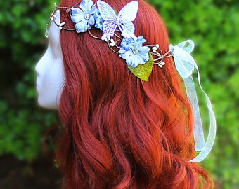 Flower Crown in Blue, Autism Awareness, Floral Crown, Headpiece, Wedding Headpiece, LOTR, Cosplay, Fairy, Renaissance, Costume