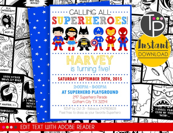 Dramatic image throughout free printable super hero invitations