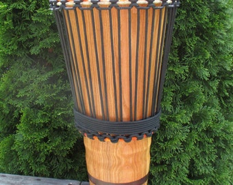 """Hand-made 10"""" Red Oak Ashiko Drum with Walnut Accent"""