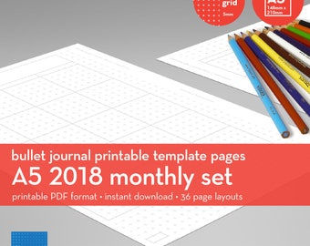 A5   2018 Monthly Set   Bullet Journal Printable Templates   Plus grid   5mm