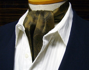 Vintage Paisley Silk Ascot - Black Pattern Over Olive Green
