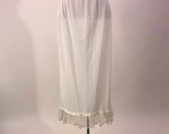 Sheer White Vintage 50s Slip with lace hem by Her Majesty size xs