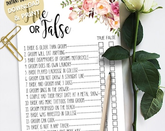 True or False game Bridal Shower game printable Wedding shower game Bachelorette party rustic games Instant download 49 G101