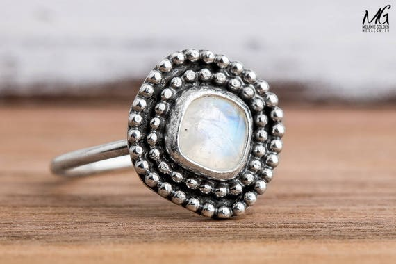 Rainbow Moonstone Gemstone Ring in Sterling Silver - Size 6