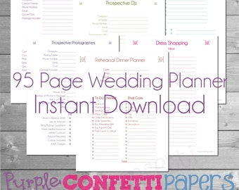 Wedding planner kit pdf digital printables a5 size 58 x printable wedding planner 95 pages instant download kit colorful bride groom wedding planning bridesmaid planner wedding party junglespirit