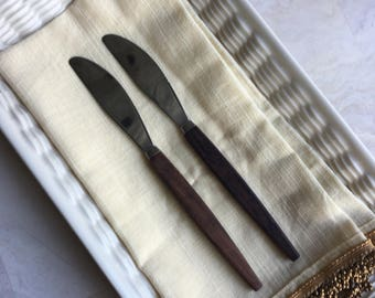 Teak Wood Argy Steak Dinner Knives Teakwood Handles Stainless Blades Vintage Set 2 - #D2436