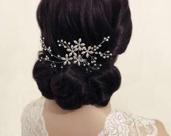 Trailing hair comb, large vine spray, floral hair vine, crystal long headpiece, large rhinestone headpiece, bridal headpiece rustic, gift