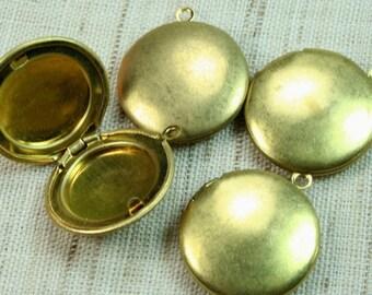 Round Locket 20mm Raw Brass Plain -LKRS-127RB - 8pcs