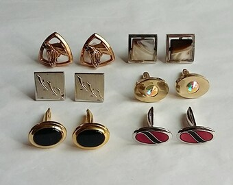 6 Pair Vintage Men's Cuff Links Horses Shells Rhinestones