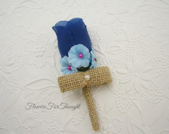 Blue Rosebud Boutonniere, Groomsmen Lapel Flower, Mens Buttonhole Bloom, Blue Rustic Burlap Wedding, FFT original design, Made to order
