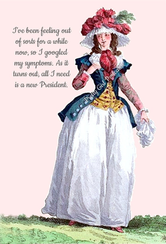 "Marie Antoinette Postcard Witty Political Quote Greeting Card ""I've Been Feeling Out Of Sorts For A While Now..."" Pretty Girl Postcards"