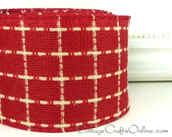"Christmas Wired Ribbon,  2 1/2"" Red Ivory Check - TEN YARD ROLL -  ""Connie"" Plaid Homespun Craft Wire Edged Ribbon"