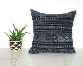 Indigo Thailand Pillow Cover / Hmong Hill Tribe Textile Shibori Ethnic Navy Blue Block Print Euro Lumbar Thai Fabric Bedding Accent Natural