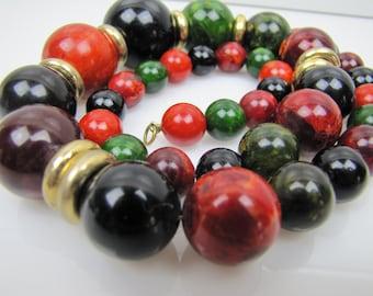 Vintage Bakelite & Brass Long Beaded Necklace. Mottled Marbled Multi Color Graduated Beads. Chunky Bakelite Necklace. 35 grams