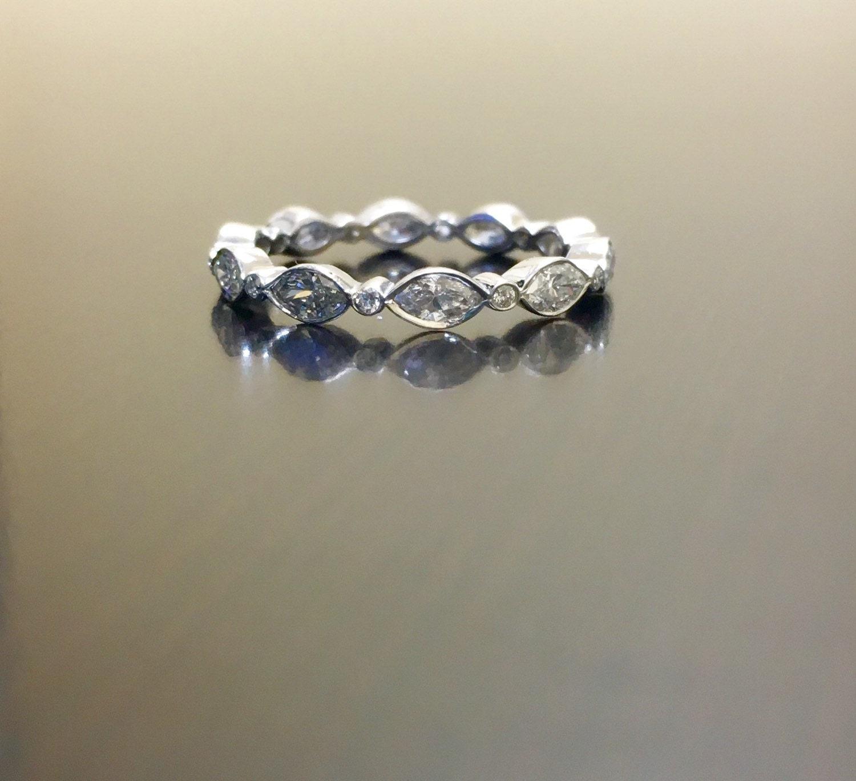 14K White Gold Marquise Diamond Engagement Band 14K Gold