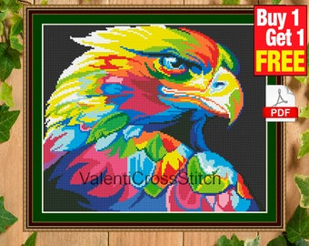 Modern Cross Stitch Pattern, Rainbow, Hawk, Modern Cross Stitch Pattern, Counted, PDF, Birds,  #sp 152