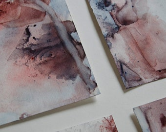 """Set of four abstract watercolors in earth tones Original paintings. full size 10""""x14"""" (5""""x7"""" each piece)"""