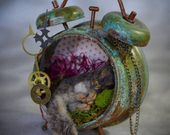 Steampunk Lost in Time  Nesting Baby Squirrel  Aged Patina Vintage Style Alarm Clock Needle felted Sculpture Steampunk