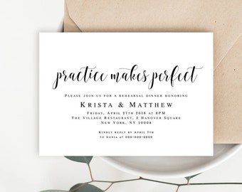 Practice Makes Perfect Rehearsal dinner invitation template Rehearsal dinner invites Rehearsal dinner invitation printable Dinner idea #vm31