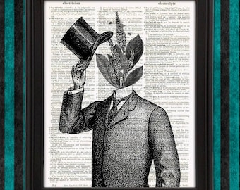 Dapper Plant Man Human Planter Victorian Wall Decor herb prints bathroom wall botanical print gift for her weird stuff unique home decor