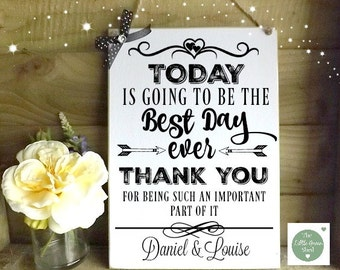Family and friends Wedding Plaque Sign The Best Day Personalised