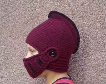 Crochet knight helmet hat - Burgundy color helmet - Boys hat - Children hat - Fantasy play - Original hat - Gift for boy -  finished work