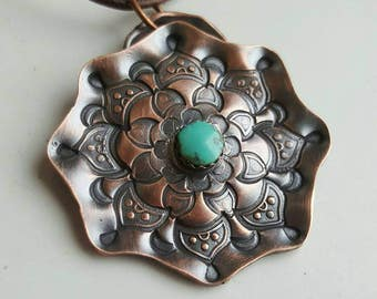 Hand Stamped Copper And Turquoise Mandala Pendant Mandala Necklace