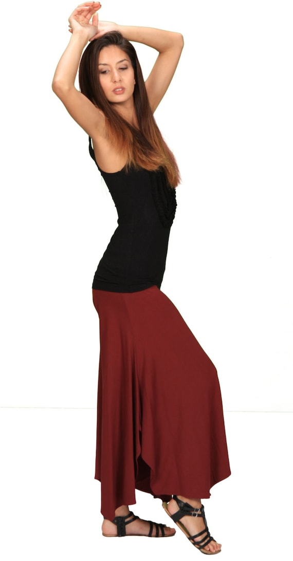 Spring Sale! Paris Loose Fitting Pants with Fold Over Waistband in Burgundy for Womens Boho Summer Fashion Yoga Wear Wholesale