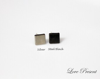 Rock N Roll and Punk Square earrings stud style - Color Vintage Steel Black or Silver - Choose your Color