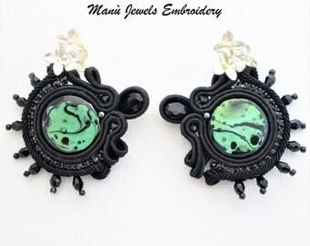 soutache earrings green black, hoop earrings, abstract earrings, boho earrings, rudder earrings, colorful earrings, elegant chic earrings
