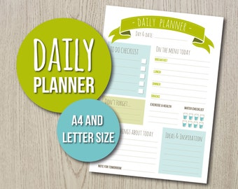 Daily Planner Printable. Day organizer in stylish design, in green and blue. Two sizes included (A4 and Letter). Great New Year resolution!