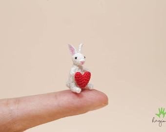 Tiny rabbit with heart, Miniature Rabbit, Tiny crochet rabbit, amigurumi animals