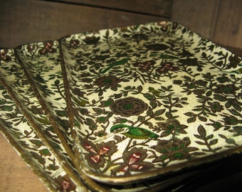 Set of 4 Vintage Alcohol Proof Bird and Floral Patterned Snack Trays