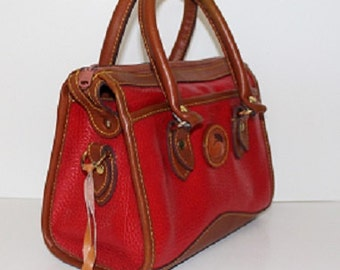 Vintage; Dooney and Bourke; Red Barrel Top Handle Bag; Leather Lining; 313041