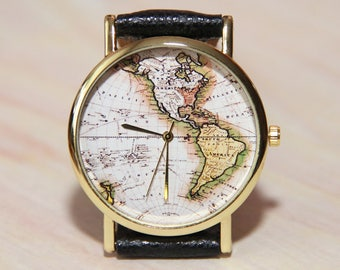 Earth watch etsy wristwatch world map watch map america watch globe mens watch watch earth gumiabroncs Image collections