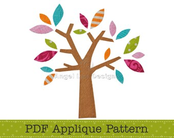 Tree Applique Pattern PDF Tree with Leaves Applique Template, Instant Download Digital Pattern
