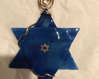 Blue and gold Star of David
