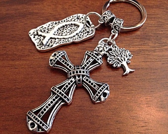 Christian Keychain, Keychain, Tree of Life Keychain, Cowgirl Keychain, Silver Cross Keychain,