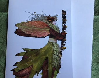 """Faeries from Flowers, Art by Zella, 5X7 Fairy Note Cards with Envelopes, """"Nikearen"""" Oak, Lily, Garden and Forest Fairies"""