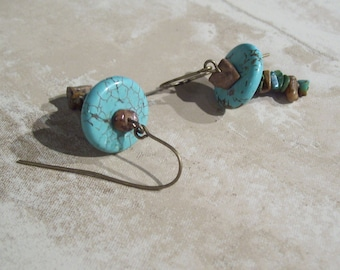 Stacked Stone earrings- earthy, stone, natural, turquoise, southwest, organic