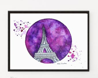 Paris Print, Watercolor Painting, Eiffel Tower art, Illustration, Travel art, Architecture art, Starry Night, Modern art, Printable art