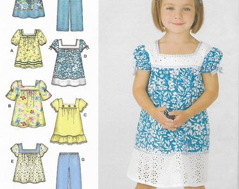 Simplicity sewing pattern 3511 Toddler size 1/2, 1, 2, 3, 4 uncut, toddler's dress, top, pants.  easy to sew