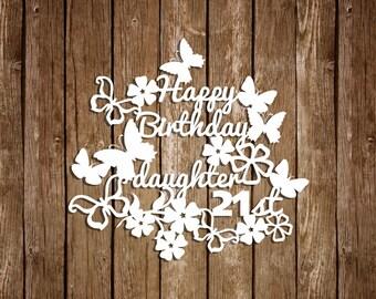 Birthday Paper Cutting Templates, Anniversary Templates, Papercut Template, DIY card, PDF SVG cutting files, Birthday Papercut, pt-034