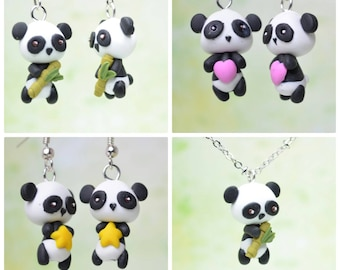 Kawaii/ Cute Pandas Holding Bamboo, a Star OR a Heart, Earrings OR Necklace