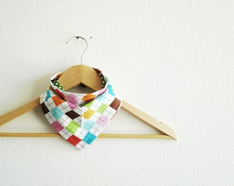 Rainbows and Flowers Bandana Bib Set for Baby, Argyle Print Bibdana, Baby Shower Gift